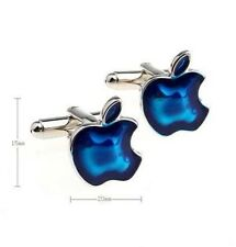 De alta calidad de color plata azul Cufflinks Gemelos Apple Iphone Ipad Logo 5 6