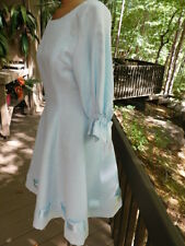 GENET PELSONE Italy POWDER baby light BLUE DRESS unique WOVEN RIBBONS DRESS S