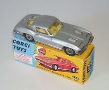 CORGI 310 RARE SILVER CHEVROLET CORVETTE STING RAY  GOOD CONDITION + DISPLAY BOX