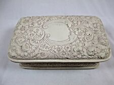 Vintage Incolay White Stone Trinket Jewelry Box  292A