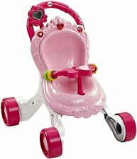 Fisher Price Baby Girl Pink Walker Stroller Musical First Steps Songs Sounds NEW