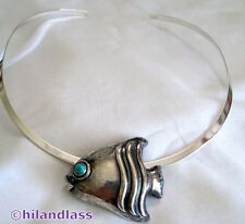 MATILDE POULAT MATL VTG MEXICO MEXICAN STERLING SILVER FISH PENDANT NECKLACE