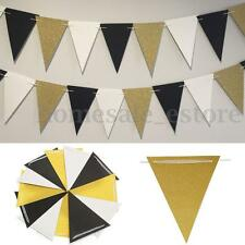 White Black Gold Glitter Wall Hanging Flags Bunting Banner Party Home Decor