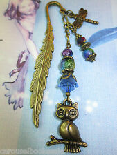 Beaded Bookmark Owl Dragonfly Flowers Animals Handmade Bronze Designs Gift Idea