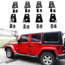 8Pcs 4 Door Black Door Hinge Cover Protector Trim For 2007-2016 Jeep Wrangler JK
