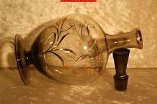 Kl. Art Deco Karaffe-Rauchglas m.Goldrändern, aufgelegten Goldbändern, Stopfen
