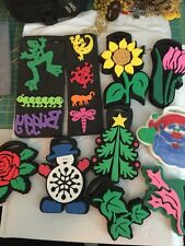 Rubber Stampede CHUNKY FOAM Stamping RUBBER STAMP Set~Flowers,Animals,Christmas