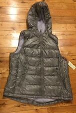 NWT Womens Silver Grey TANGERINE Quilted Puffer Hooded Vest Size Large  L