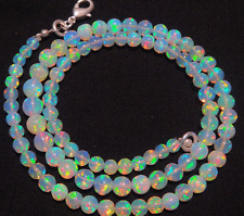 """Natural ULTIMATE QUALITY ETHIOPIAN OPAL ROUND BALL BEADS NECKLACE 4 TO 6 MM 16"""""""