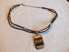 Beautiful Necklace Silver Tone Signed KC Dark Amber Beige Beads Marbled Pendant