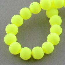 8mm rubberised round Neon yellow beads
