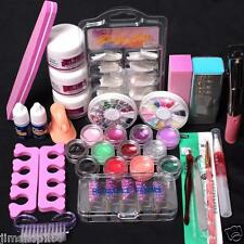 Pro 24 in 1 Acrylic Nail Art Tips Liquid Buffer Glitter Deco Tools Full Kit Set