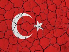 PAINT ABSTRACT FLAG CRACKED CONCRETE TURKEY TURKISH CRESCENT STAR PRINT BMP10269