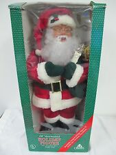 "ANIMATED LIGHTED SANTA HOLIDAY CREATIONS VINTAGE 24"" IN BOX CHRISTMAS DISPLAY"