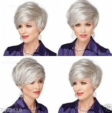 DELUXE SHORT SILVER STRAIGHT HEAT RESISTANT CELEBRITY FASHION HAIR WIG NEW
