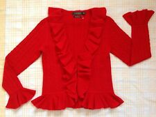 "BNWT ""Ralph Lauren"" Red Cable 100%Cashmere Shrug.S/8,10"