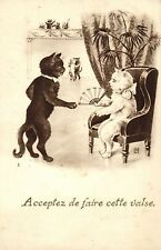 black cat asks lady cat for a dance old French artist postcard