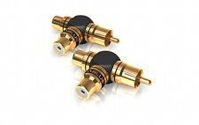 Viablue XS Y Adapter Cinchadapter Cinchverteiler 40640 RCA 2-1 gold plated