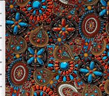 Santa Fe Style Turquoise Coral Concho Jewelry Fabric By the Yard Southwestern