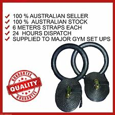 ADJUSTABLE GYMNASTIC GYM RINGS CROSSFIT TRAINING ABS WORKOUT KETTLEBELL PULL UP