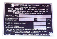 1953 1954 1955 NEW Identification Door Post Plate for GMC 1/2 ton Truck Only
