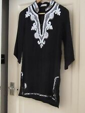 Arabic black tunic with silver beads