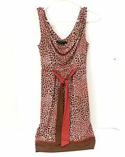 BCBG Max Azria Women's Dress Sz XS Summer Sleeveless Red and Brown