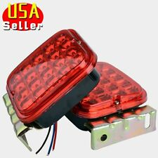 "2x Red 4.5"" LED Trailer Tail Light Kit Brake Turn Signal Utility RV Boat Truck"