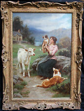 BASIL BRADLEY 1824-1902 BRITISH VICTORIAN GENRE DOG PORTRAIT OIL PAINTING ART