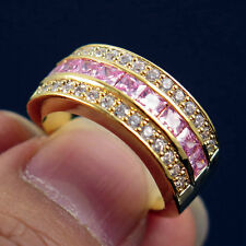 Pink Sapphire CZ Wedding Ring Man/Womens 10KT yellow Gold Filled Size 5.5