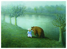 ART PRINT POSTER - Girl With Bear by Michael Sowa 20x28 Walking Along River