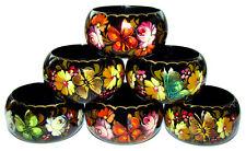Six Ronds de Serviette Papillons Artisanat Russe Rond de Serviette en bois