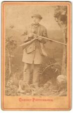 CDV Cabinet Photo Man with rifle, smoking a pipe, hunter, with two dogs (2009)