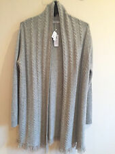 NWT RAFFI Luxury Woman 100% Cashmere long Cardigan/Sweater Sz L Grey
