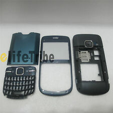 Full Housing Cover Case Front + Back Cove + Keypad for Nokia C3 C3-00 Blue