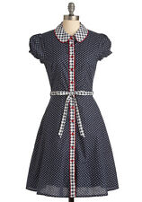 Modcloth $95 Doting on Dots Shirt Dress White/Navy Sz S M by Friday On My Mind