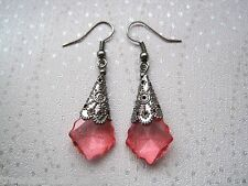 *GOTHIC CORAL PINK BAROQUE GEM* Gunmetal Cone DROP Earrings XMAS GIFT BAG