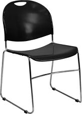 Heavy Duty High Density Black Stackable Office Side Chair, Waiting Room Chair