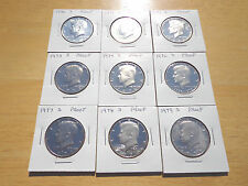 1970 1971 1972 1973 - 1976 1977 1978 1979 S Kennedy Half Dollar 9 Coin Set Lot