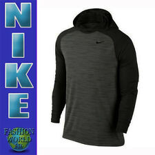 MEN'S SIZE LARGE NIKE DRI-FIT TOUCH LIGHTWEIGHT LONG SLEEVE HOODIE BLACK 696063