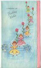 VINTAGE BLUE WHITE STAIR CASE GARDEN FLOWERS ROSES GIRL ANGELS BD CARD ART PRINT