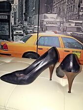 MUI MUI By Prada Gorgeous Black Leather Classic Heels Pumps Shoe 38