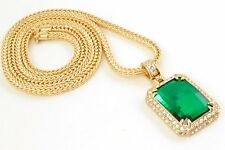 "HIP HOP Men's Jade Green Emerald Cut Solitaire Pendant in Yellow Gold 36""Chain"