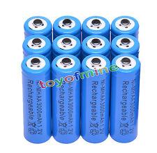12x AA 3000mAh pile 1,2 V Ni-MH rechargeable Bleu Couleur cellule MP3 Jouets RC