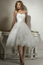 New White Lace Short Bridal Gown Wedding Dress Size UK 6-8-10-12-14-16-18-20++++