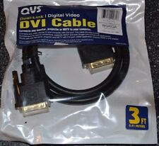 DVI Cable QVS Dual Link Digital Video Male to Male 3 ft dvi-d m/m black NEW