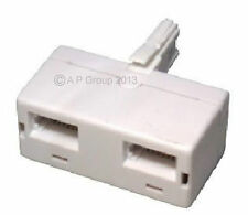 BT double Twin telephone Phone socket 2 way Adaptor  Male to Two Female Sockets