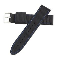Hadley-Roma 22mm Blue Mens Stitch Silicone Diver Watch Band Strap 22mm MS3315