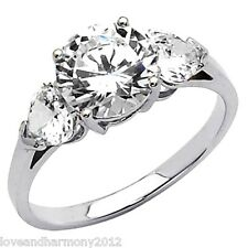 Real 14K SOLID White GOLD Round  Brilliant cut Engagement Ring three stone