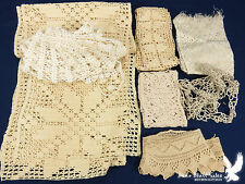 Mixed Lot Antique Lace Trim Collar Filet Crochet Runner Panel
